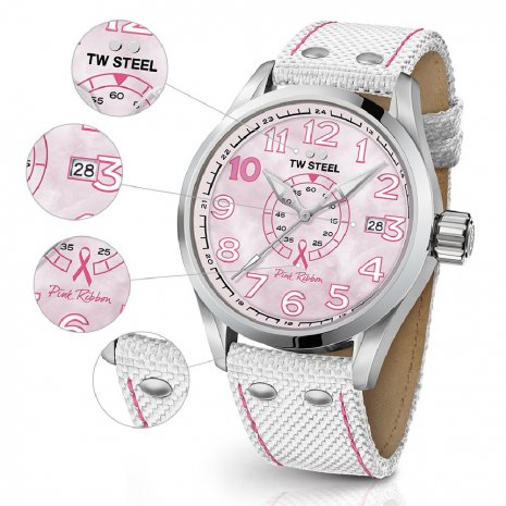 Ladies Sports Watch with Extra Pink Textile Over Leather Strap Fall Winter Collection TW Steel